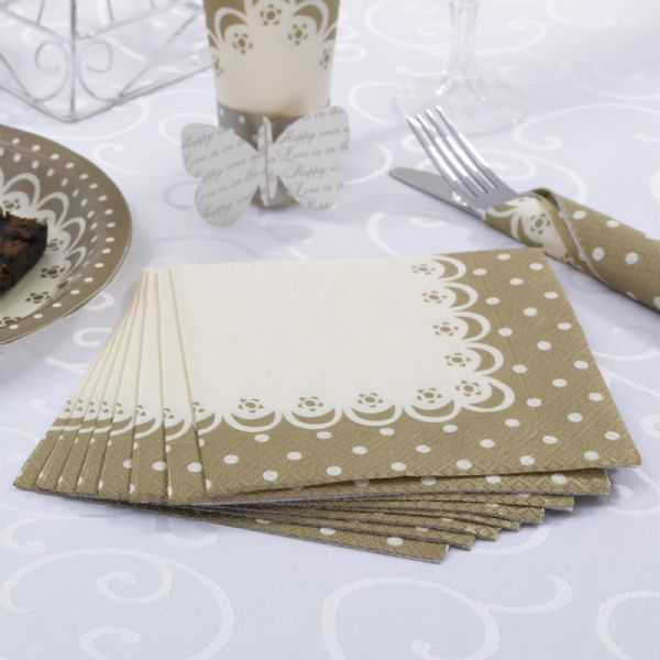 Chic Boutique Paper Napkins - Ivory & Gold (20)